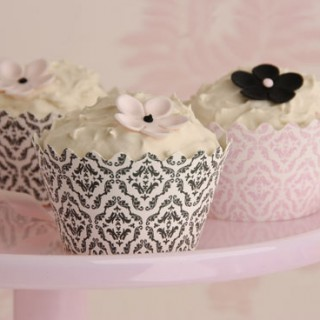 Cupcake Wrappers Damask Charcoal