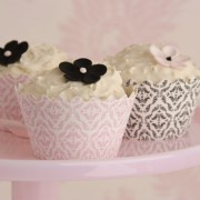 Cupcake Wrappers Damask Pale Pink